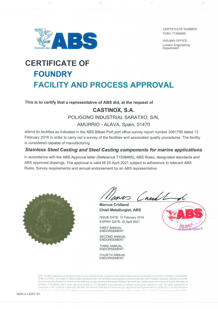 Certificate of Foundry Facility and Process Approval ABS